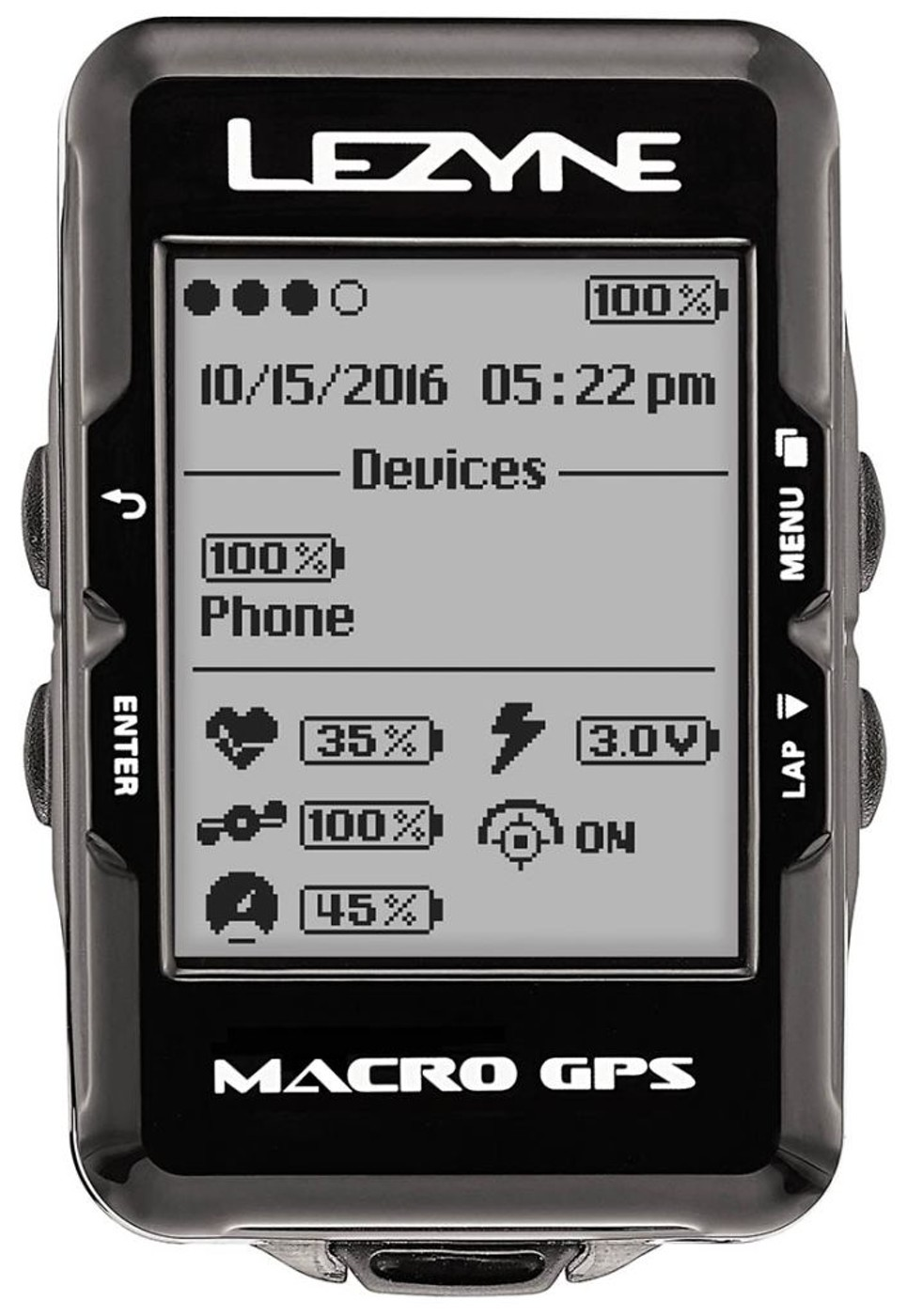 LEZYNE Radcomputer MACRO GPS HRSC schwarz